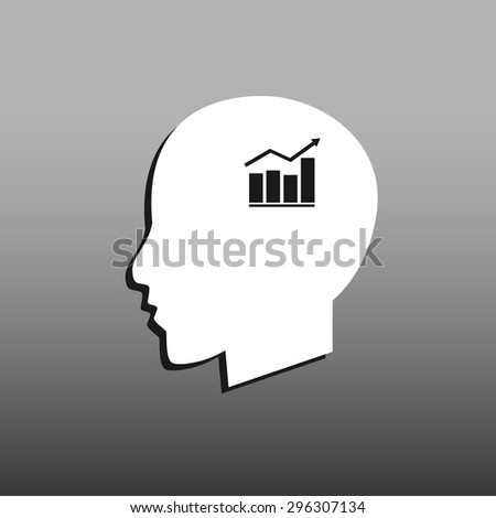 Chart icon, Modern man vector illustration. Flat design style. - stock vector