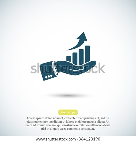 chart icon with hand,. icon. Vector Eps 10 - stock vector