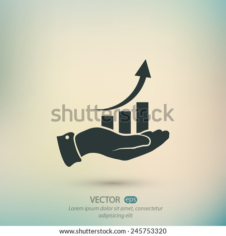 chart icon with hand, vector illustration. Flat design style - stock vector