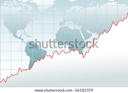 Chart of growth of global financial economy or company on a world map - stock vector