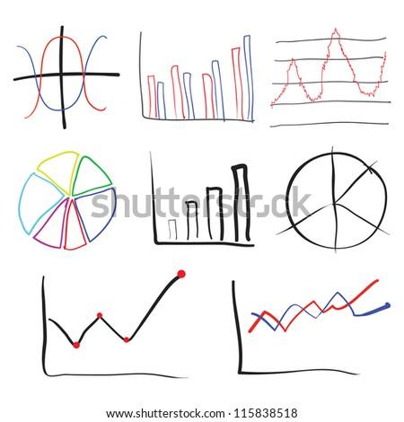 chart sketch style vector set - stock vector