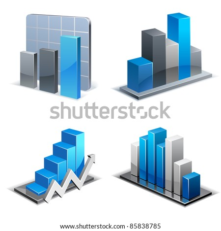 Charts and Graphs Collection. Business statistics - stock vector