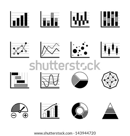 Charts and Graphs icons set on white background - stock vector