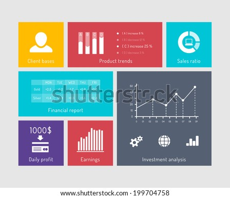 Charts and graphs on user interface elements. Financial elements in flat style - stock vector