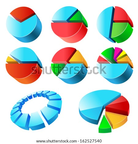 Charts illustration, isolated on a white background. Set. Vector.