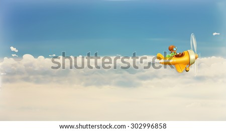Chasing your dream, funny cartoon aviator in the sky, vector illustration - stock vector