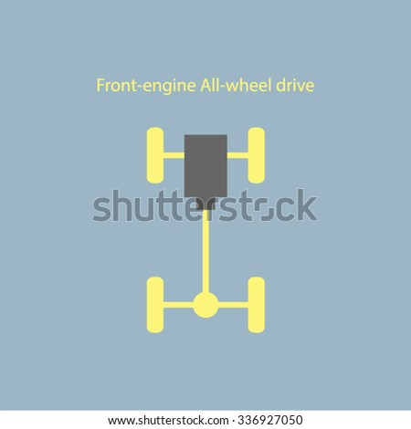 Chassis car, wheel drive of car. - stock vector