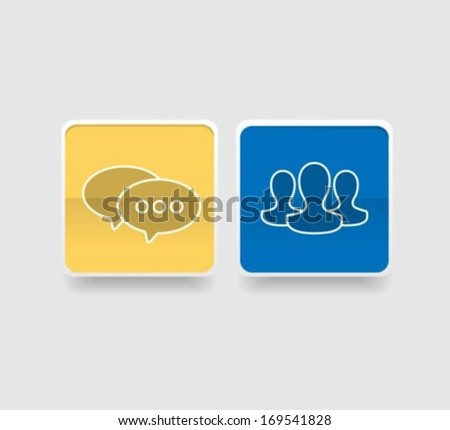Chat and contact Flat icons - stock vector