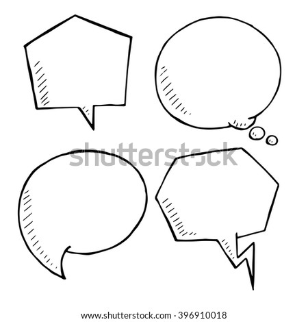 Chat and think doodle bubbles vector, hand drawn speech bubble - stock vector