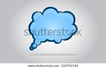 Chat bubble icon - abstract vector glossy speech cloud - blue - stock vector