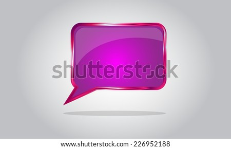 Chat bubble icon - abstract vector glossy speech - pink