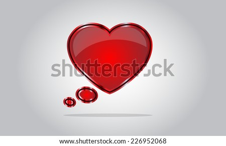 Chat bubble icon - abstract vector glossy speech  - valentine's day - red - stock vector