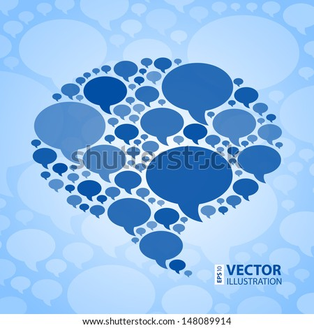 Chat bubble symbol on light blue background. RGB EPS 10 vector illustration - stock vector