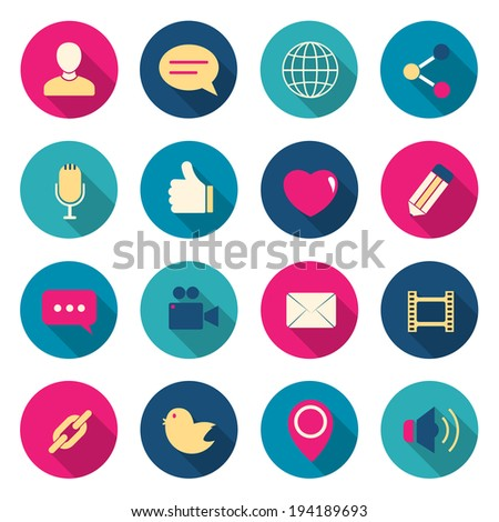 Chat color icons set. vector illustration