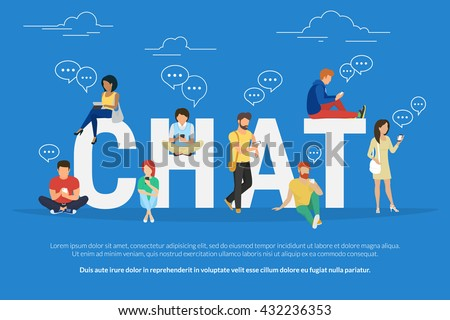 Chat concept illustration of young various people using mobile gadgets such as tablet pc and smartphone for texting messages each other via internet. Flat guys and women standing near big letters chat - stock vector
