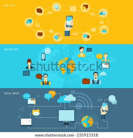 Chat flat banner set with voice online sms chat social media isolated vector illustration - stock vector