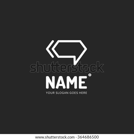 Chat form and waves, logo design vector template. Symbol concept icon. - stock vector