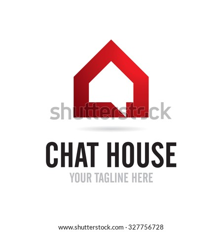 Chat House Icon Logo - stock vector