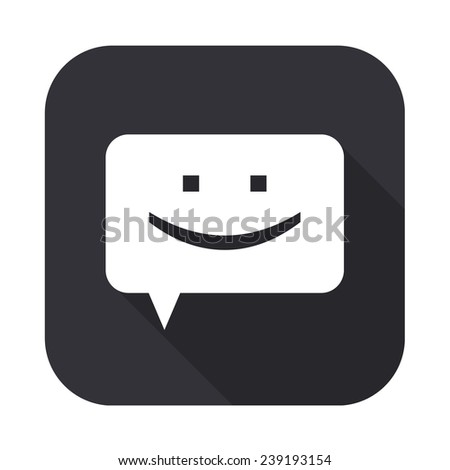 chat icon - vector illustration with long shadow isolated on gray - stock vector