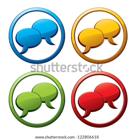 Chat icons colors set. - stock vector