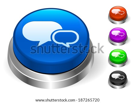 Chat Icons on Round Button Collection - stock vector