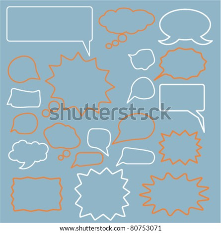 chat & idea comic icons, signs, vector illustrations - stock vector