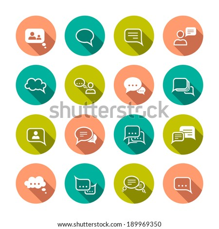Chat message speech talk text bubble communication flat icons set isolated vector illustration - stock vector