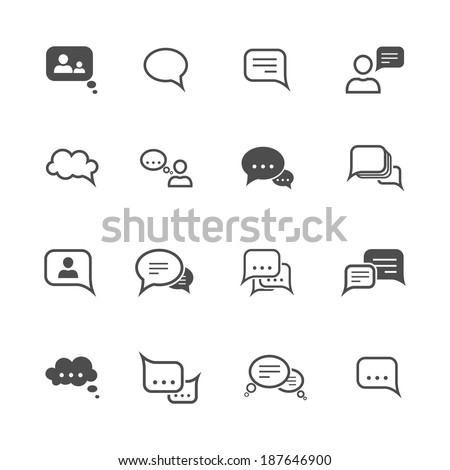 Chat message speech talk text bubble communication icons set isolated vector illustration - stock vector