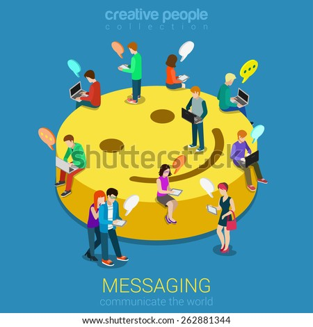 Chat messaging communication flat 3d web isometric infographic concept vector. Micro young chatting people with electronic devices sitting on big smile podium. Creative people collection. - stock vector