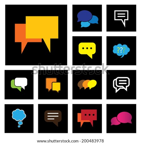 chat or speech bubbles vector icons set on black background. This graphic also represents people speaking, online talk, social media interaction, community engagement, group talk, chit chat - stock vector