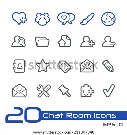 Chat Room Icons // Line Series - stock vector