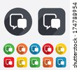Chat sign icon. Speech bubbles symbol. Communication chat bubbles. Circles and rounded squares 12 buttons. Vector - stock