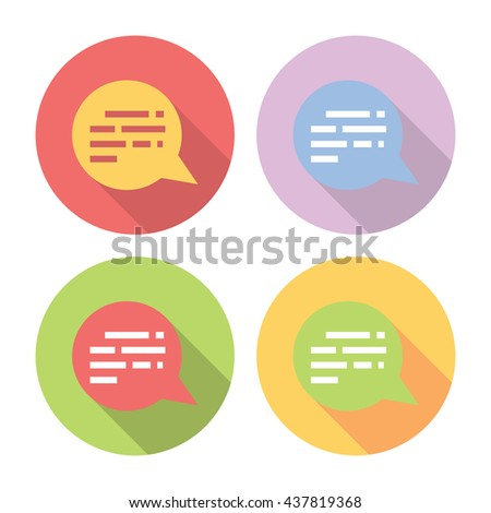 Chat Speech Bubble Flat Style Design Icons Set