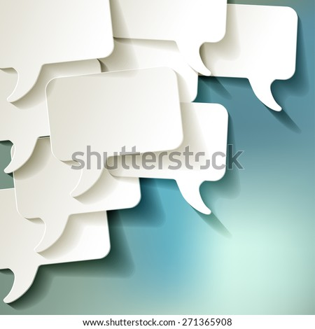 chat speech bubbles vector white on blue bokeh background - stock vector