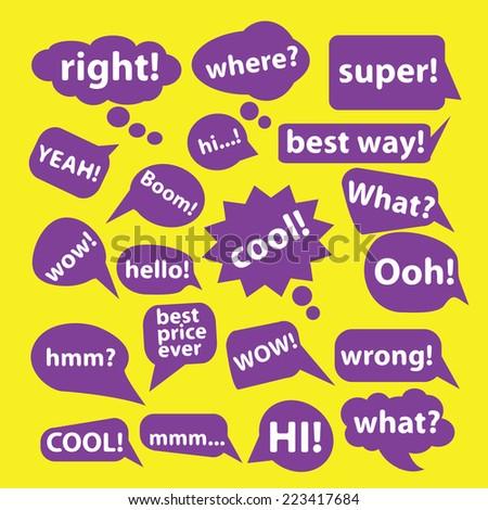 chat, speech icons, signs, symbols, illustrations, vectors set - stock vector