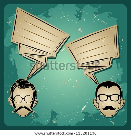 chat two people, Faces with Mustaches and eyeglass, speech   chat icon - stock vector