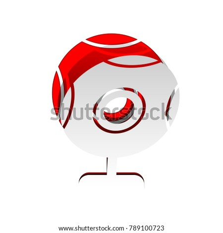 Chat web camera sign. Vector. Detachable paper icon with red body stock. Isolated.