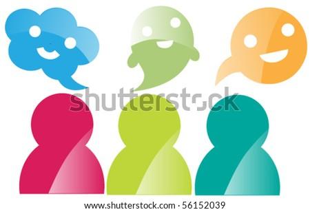 chatting buddies - stock vector