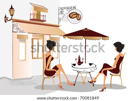 Chatting girls drinking coffee - stock vector