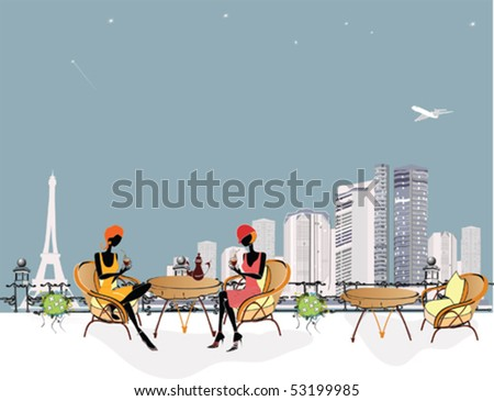 Chatting girls in the cafe - stock vector