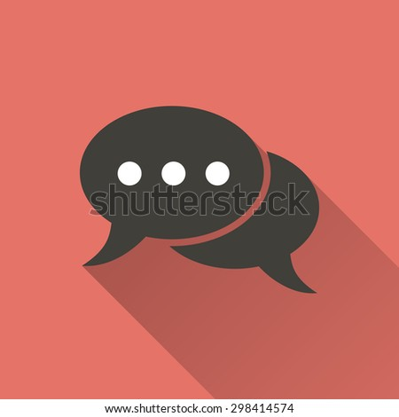 Chatting  icon with a long shadow on a red background. Vector illustration. - stock vector