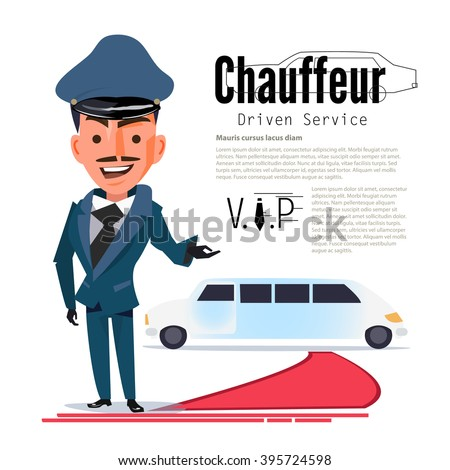 Chauffeur. character design with typographic for design your header. red capet - vector illustration - stock vector
