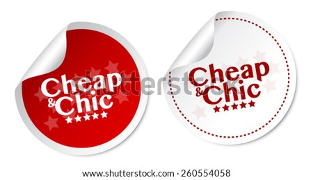 Cheap & Chic stickers - stock vector