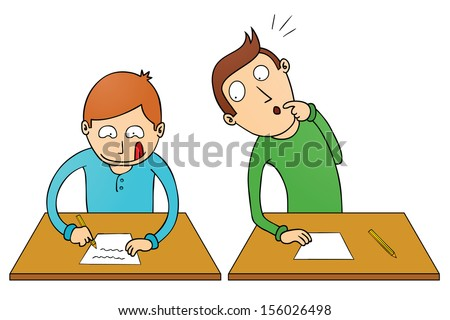 cheating student - stock vector