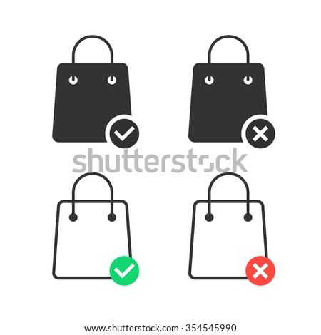 check and cancel purchase with shopping bags. concept of consumerism, discount, offer, gift, interface consumer. isolated on white background. linear style trend modern logo design vector illustration - stock vector