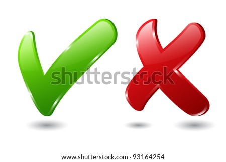 Check and cross mark - stock vector