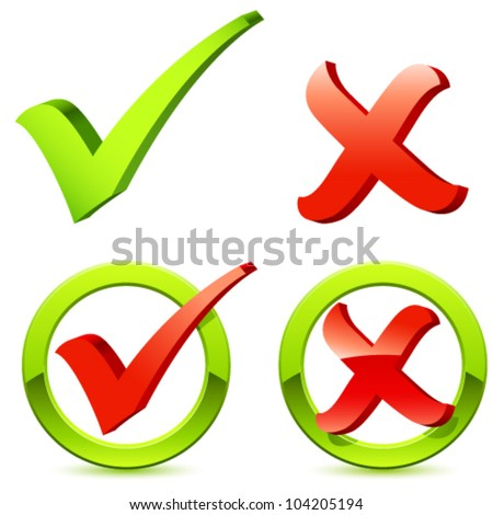 check and cross mark - vector illustration - stock vector