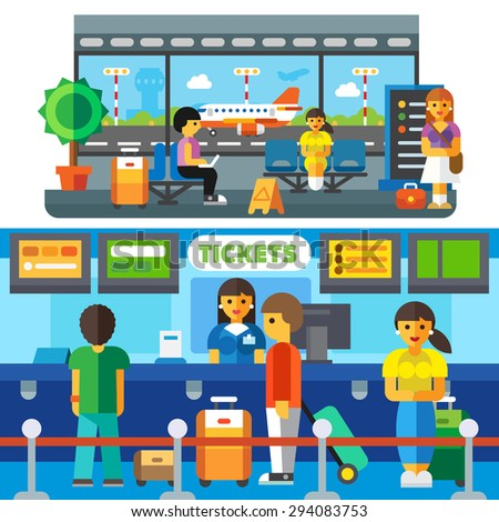 Check at the airport, travelers waiting to plane in the waiting area. Tourists with suitcases. Transfer, happy arrival home. Vector flat illustration