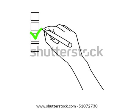 Check box and hand with pen over a white background. - stock vector