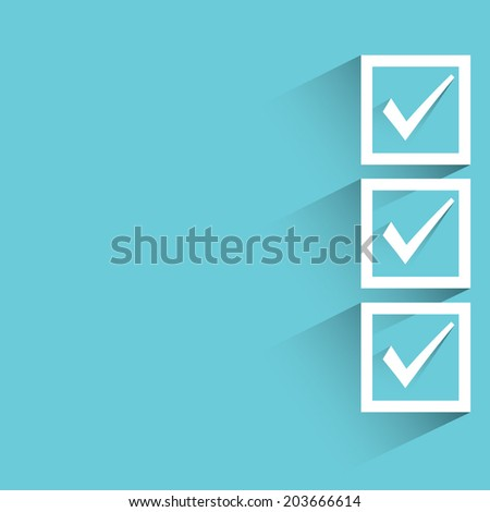 check box, blue background, flat and shadow theme - stock vector